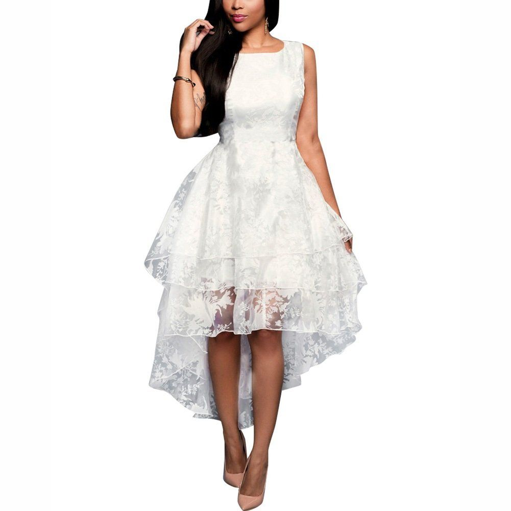 Dora bridal womens hilo organza sweet prom dresses white high low