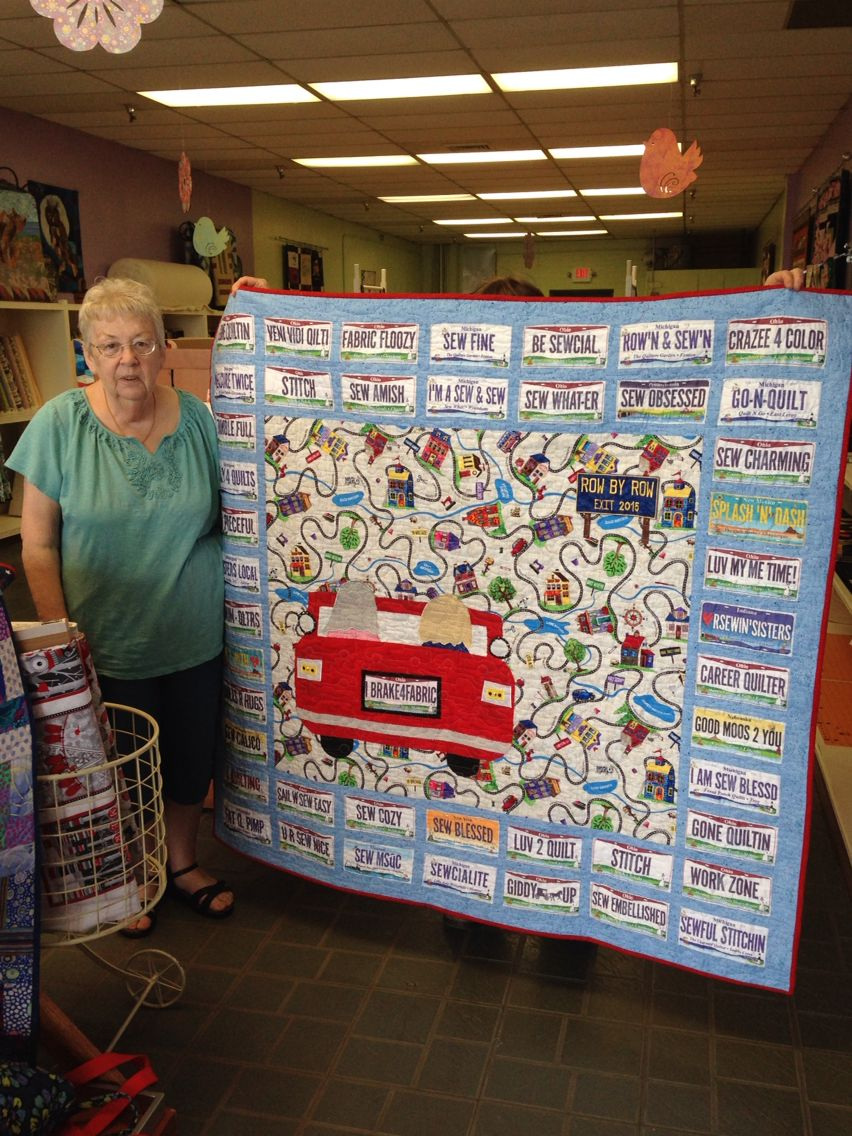 Carolyn made this road trip quilt with her license plates