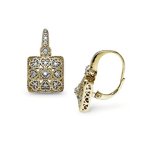 Sterling Silver Round Filigree Diamond Accent Stud Earrings IJ-I3