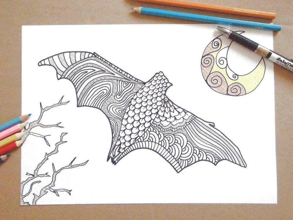 Bat halloween coloring page printable adults horror goth ...