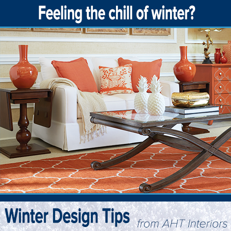 It's time for our final quick tip to help your home feel warmer during cold winter months:   Add area rugs! Areas with carpet as well as hard-surface flooring will benefit from the warmth and softness of a well-made rug.  We hope these winter tips have helped you create a warm, inviting atmosphere that you will love to come home to!