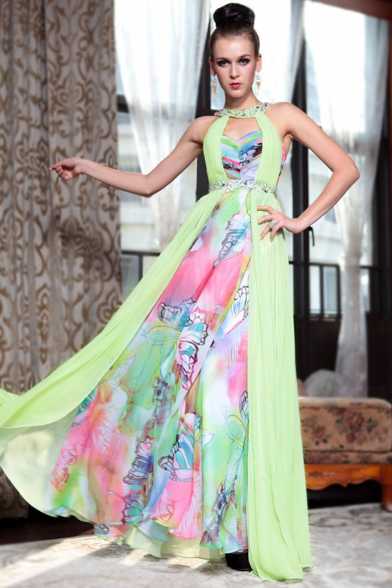 Emerald green prom dress  Dorisqueen Free and fast shipping printed emerald green evening gown