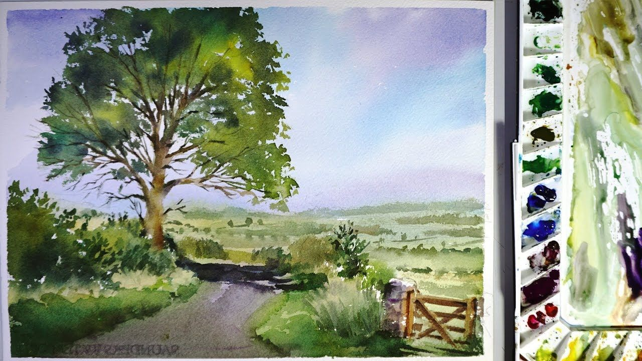 Watercolor Landscape Painting A Road Across A Field Watercolor