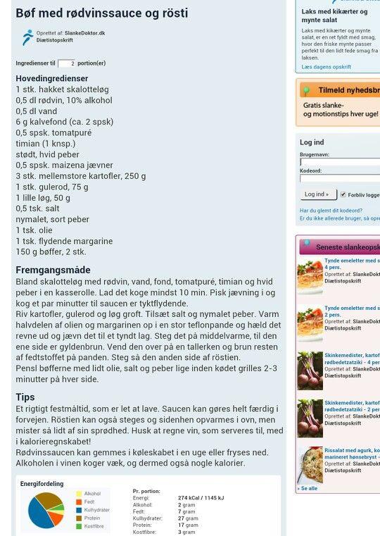 Bøf m. rødvinssauce & rösti