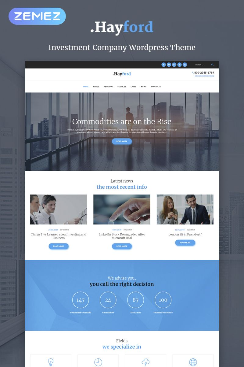 Modello Wordpress Responsive 60053 Hayford Investment Consulting Services Responsive Wordpress Template Web Design Projects Web Design Software Wordpress Theme