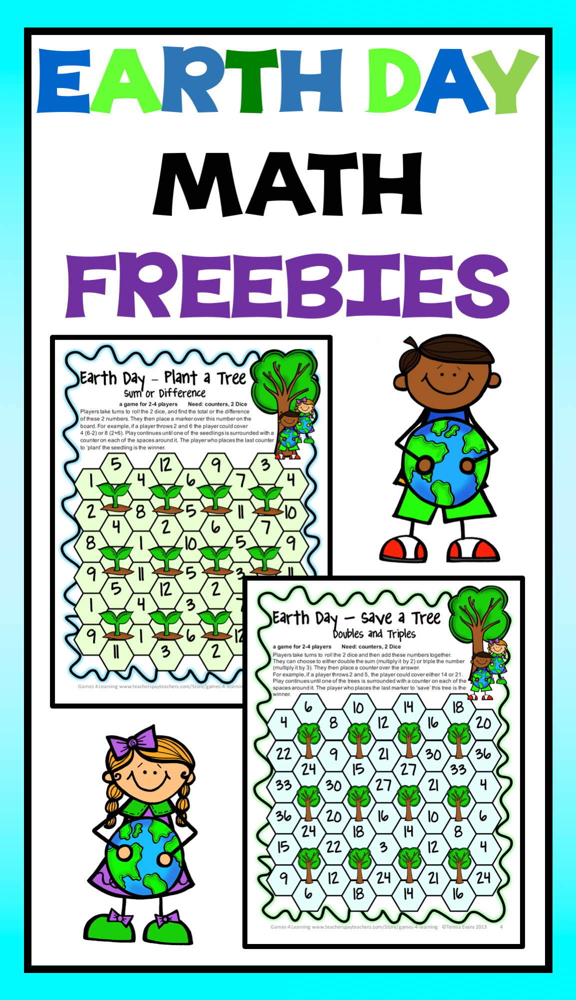 Earth Day Activity Earth Day Math Games Freebie