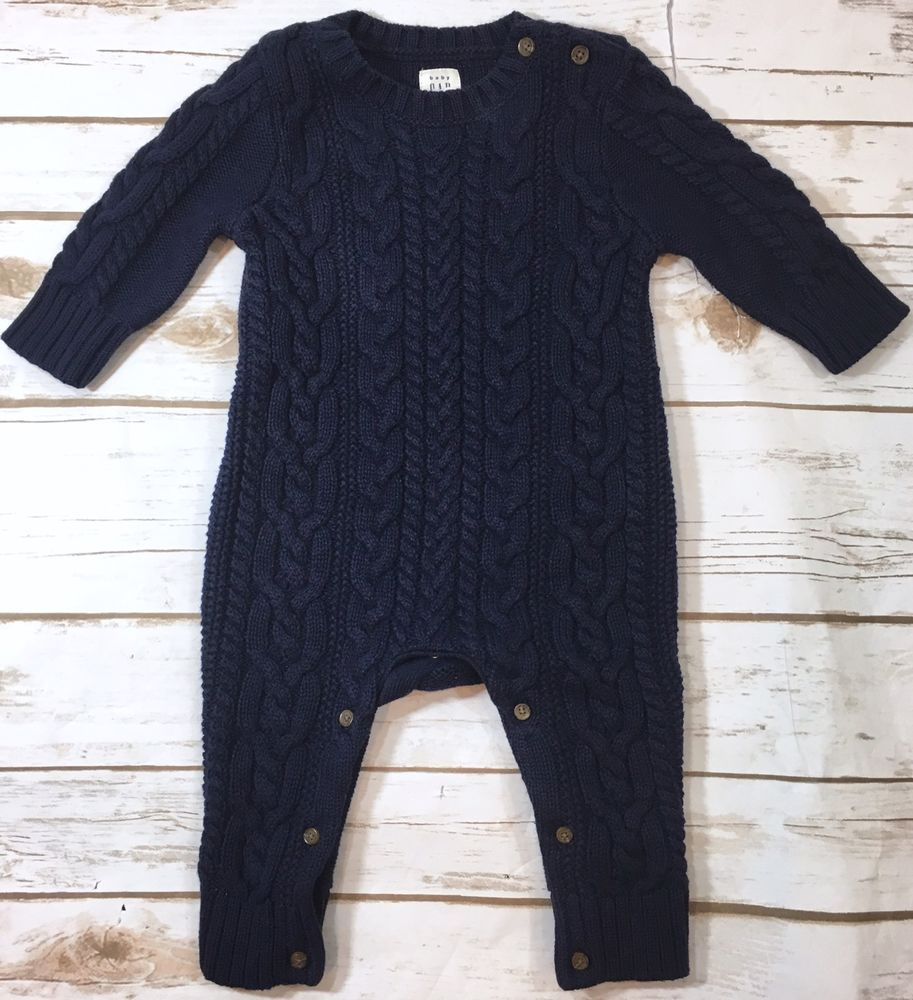 Baby Gap Navy Blue Cable Knit Aran Sweater Romper One-Piece Boy 3 ...