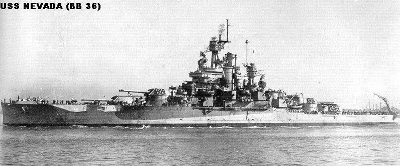 USS Nevada (BB36) 1942 after being repaired from the Pearl Harbor attack.
