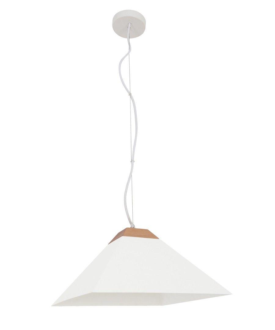 Beacon Lighting - Anton 1 light large pyramid metal pendant in white with ashwood detail
