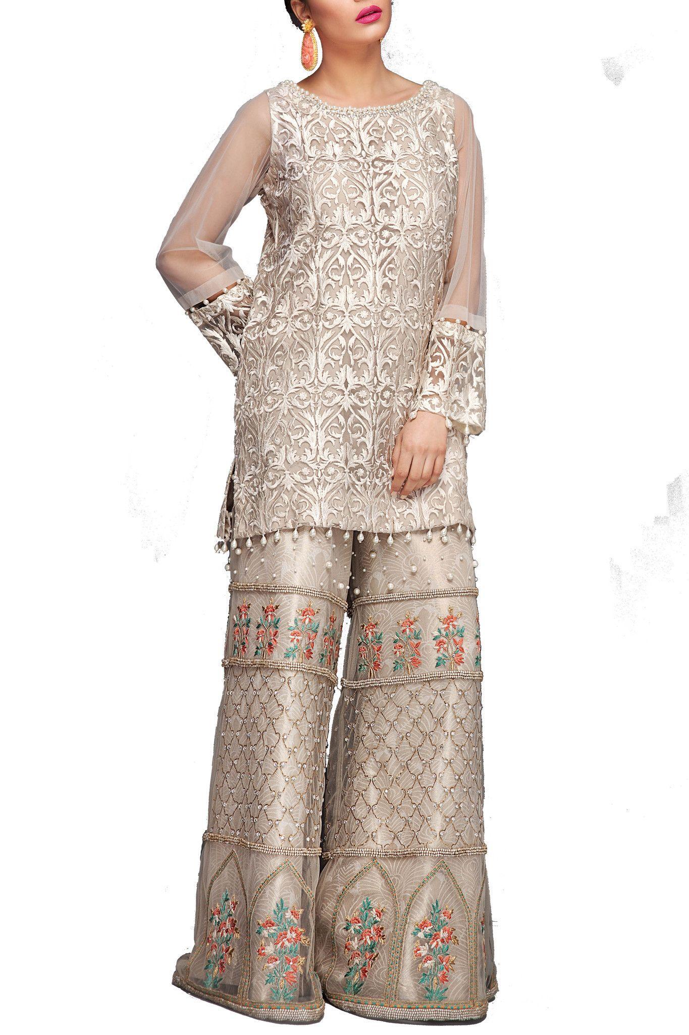 065ecb24ec7a93 Mahgul - White Fully Embroidered Net Shirt With Net Sharara Pants Sharara