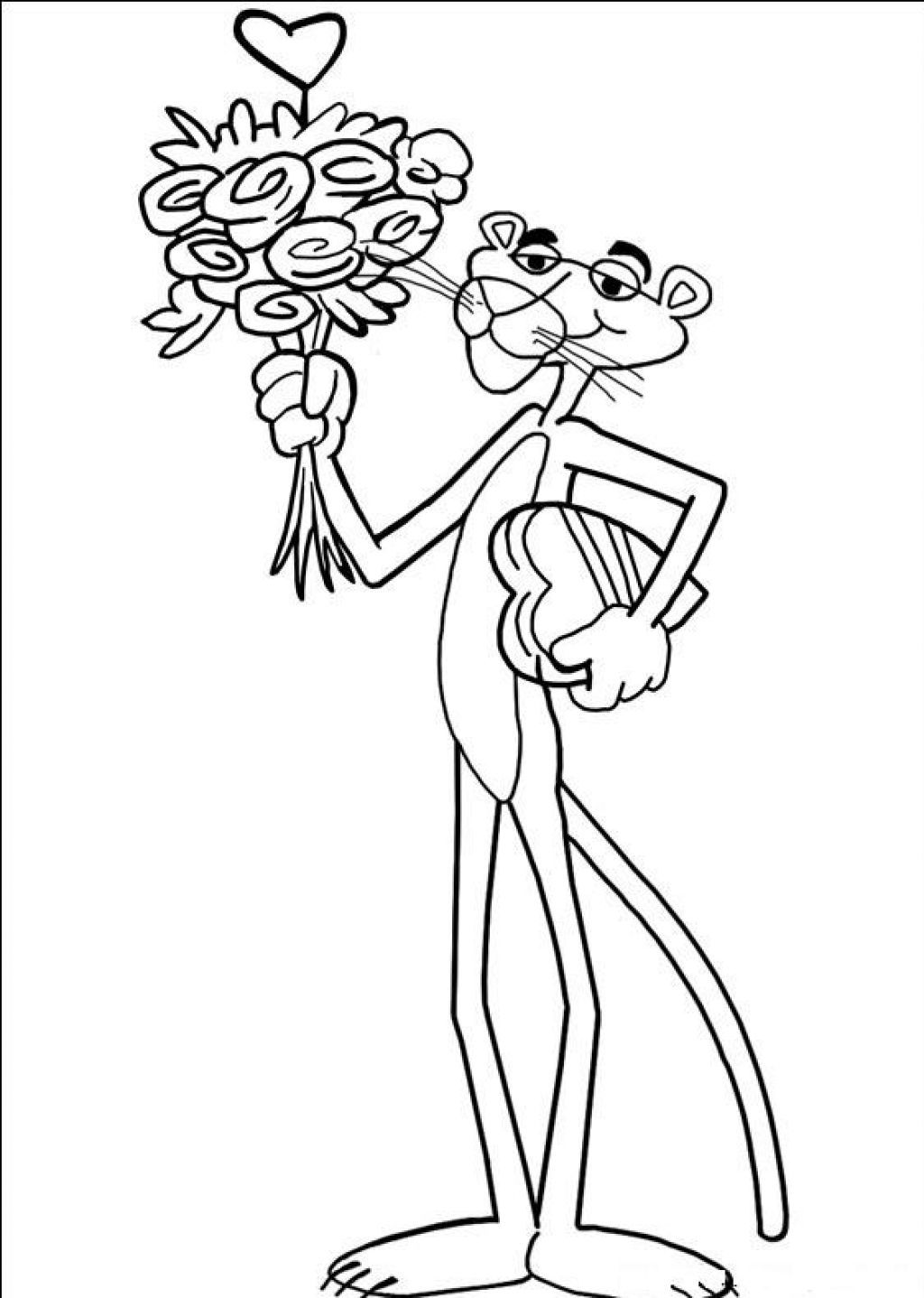 Pink-Panther-With-Flowers-Coloring-Pages.jpg (1024×1437)   STENCILS ...