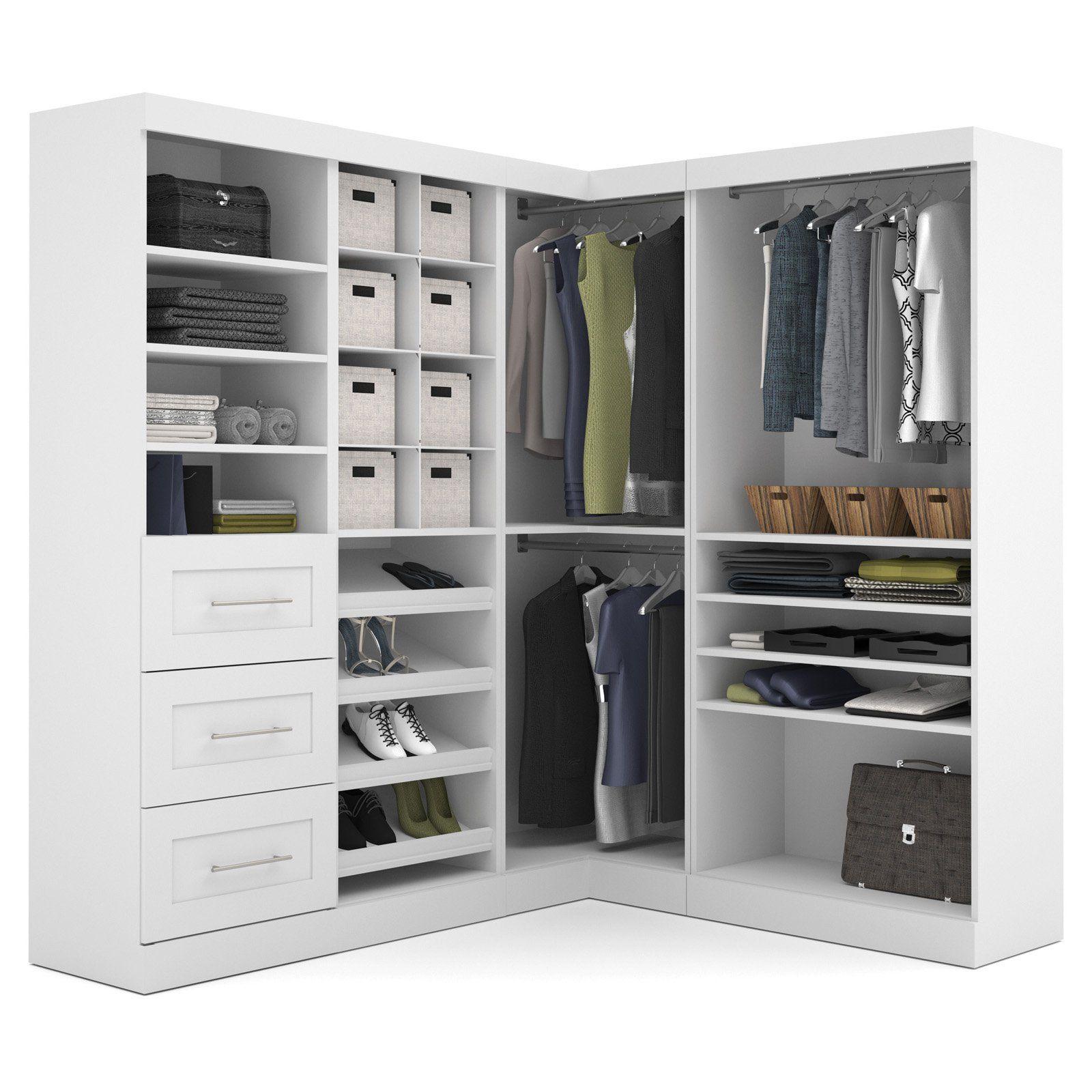 Pur By Bestar 26854 82 In Corner Storage Kit Closet System Closet Organizing Systems Closet Bedroom