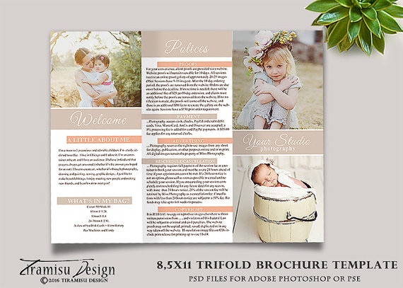 Family Photography Trifold Brochure Template Client Welcome - Price list brochure template