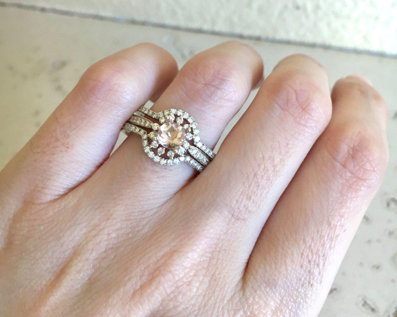 Engagement Ring Set Rose Gold Ring 14k