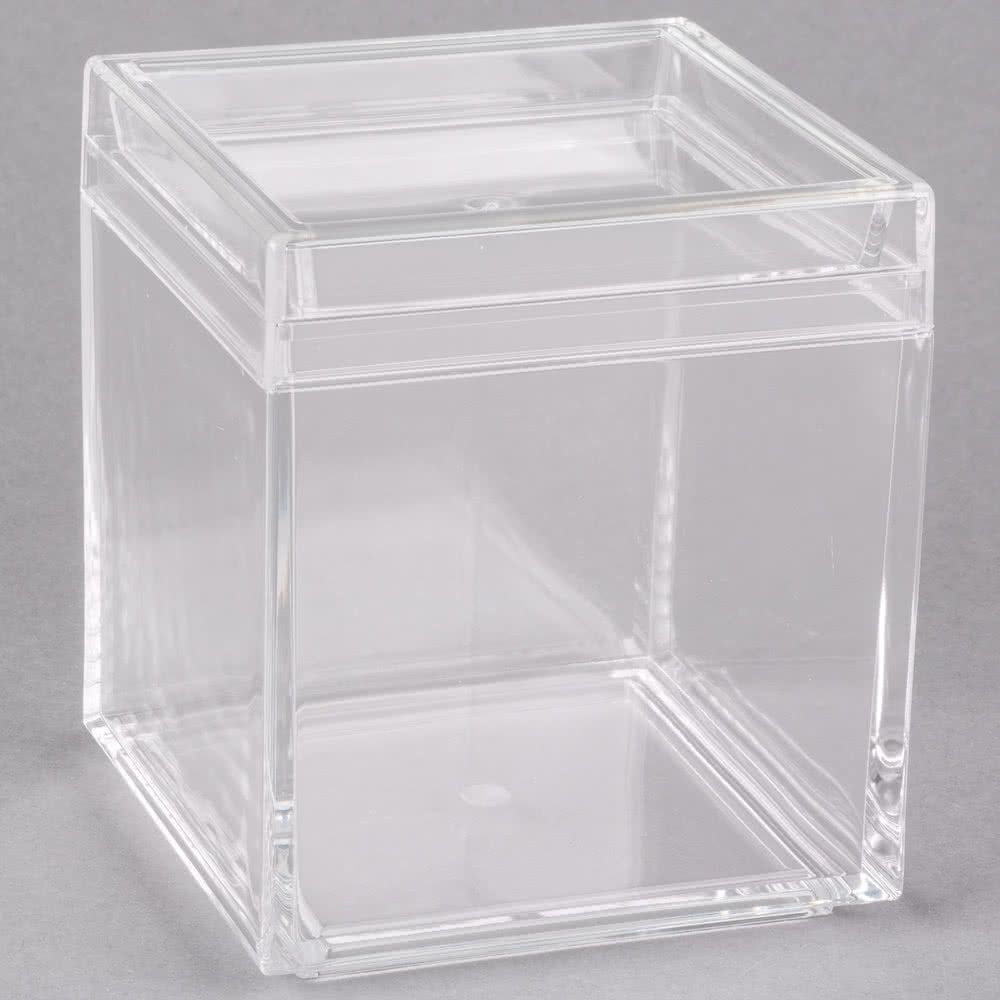American Metalcraft Lssb4 26 Oz Square Acrylic Jar With Lid
