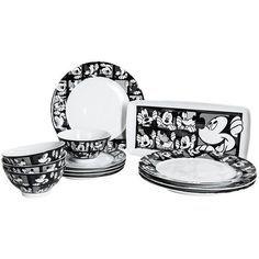 Disney Mickey Grid Dinner Plates - Porcelain Set of 4 in Mickey Grid  sc 1 st  Pinterest & Disney Mickey Grid Porcelain Dinner Plates - Set of 4 | Disney ...