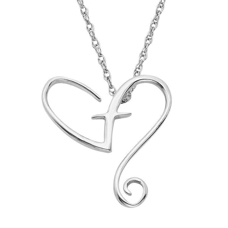 "Sterling Silver Heart & Cross Pendant Necklace, Women's, Size: 18"", White"