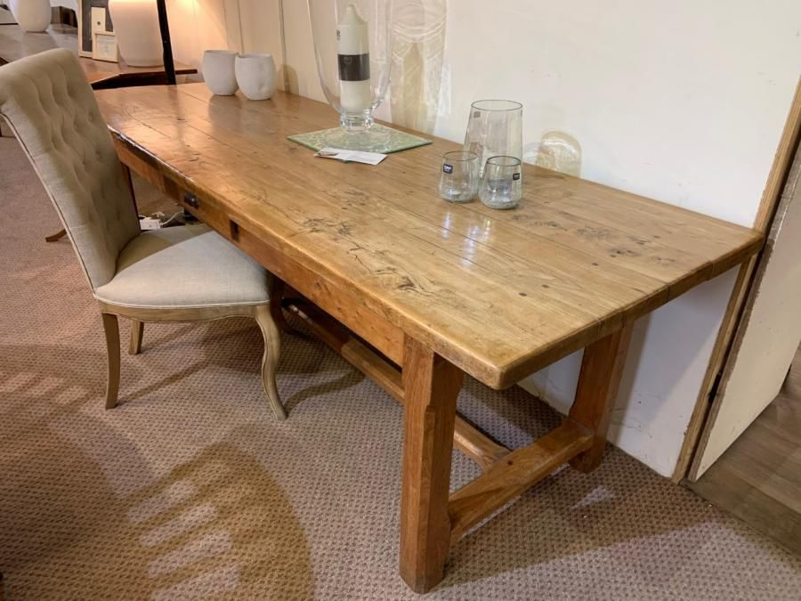 Large Pale Elm French Farmhouse Table With Drawer In 2020 Dining Table French Farmhouse Table Antique Dining Tables
