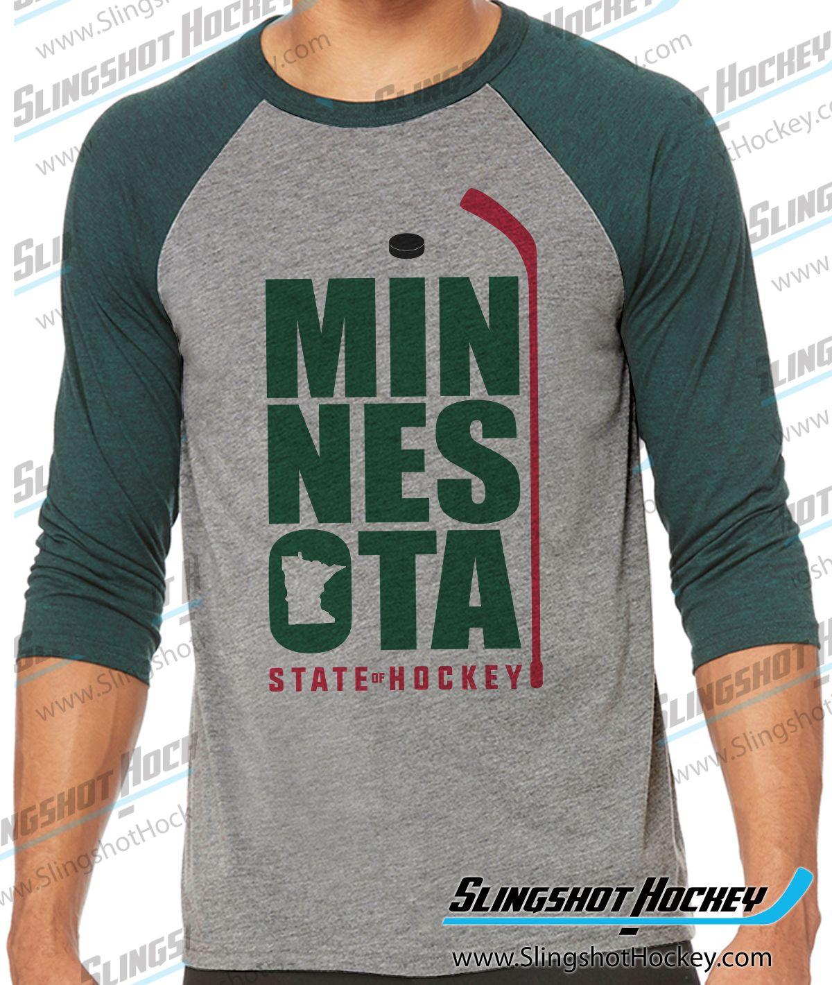 a2422be0c0 Minnesota State of Hockey Raglan   3/4 Sleeve Hockey Shirts ...