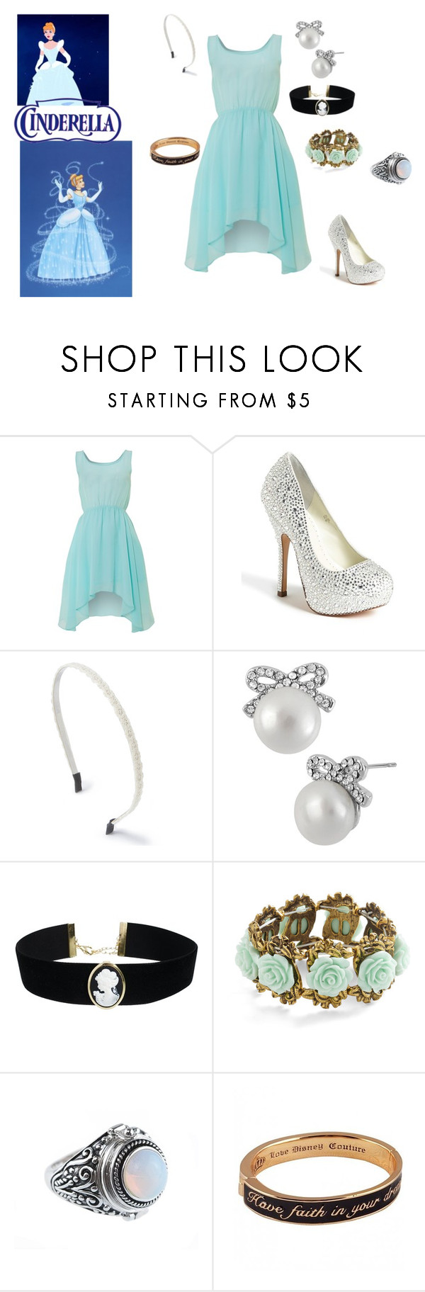 """""""Cinderella"""" by msgeeky ❤ liked on Polyvore featuring Glamorous, Benjamin Adams, Betsey Johnson, ASOS and Disney Couture"""