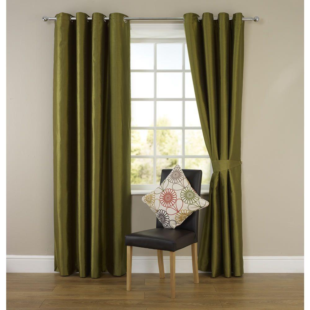Wilko Faux Silk Eyelet Curtains Plum 167 X 137cm: Wilko Faux Silk Eyelet Curtains Green 228cm X 228cm
