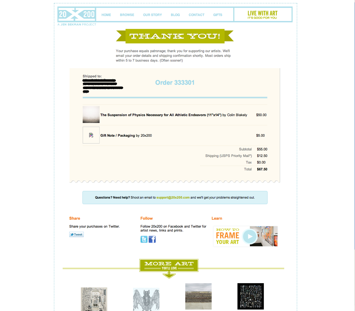 20x200 Cart: Step 6: Thank you, confirmation, ability to resolve an error, and let's keep you engaged! #ecommerce