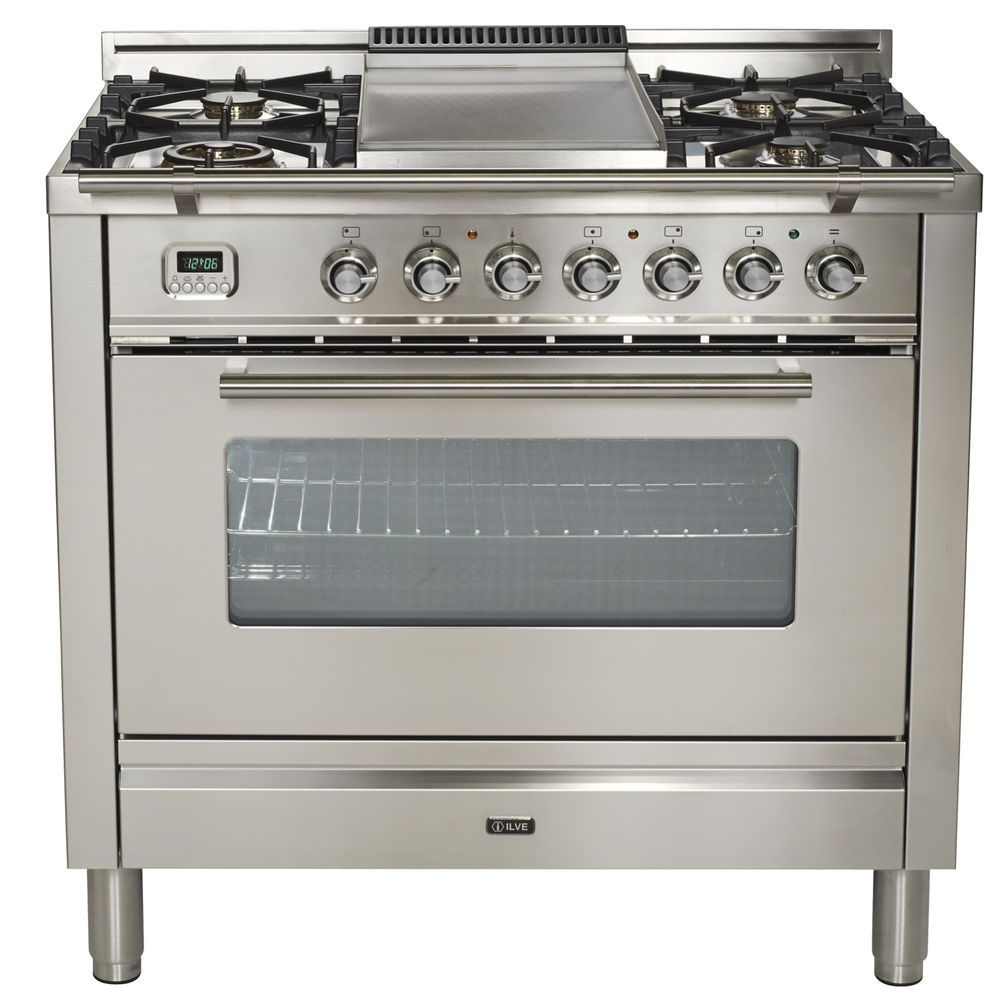 Ilve Upw90fdmpi Pro Series 36 Dual Fuel Range Oven Griddle Stainless Steel 741459088613 Ebay Dual Fuel Ranges Ilve Double Oven