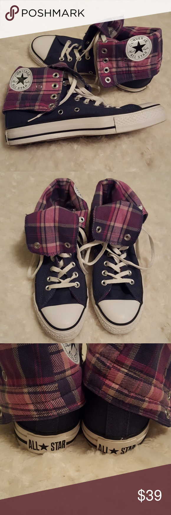 285cb598b2e8 Converse Chuck Taylor All Star black pink plaid hi ⭐EUC Converse Chuck  Taylor All Star black and pink plaid high-top sneakers. These have been  very gently ...
