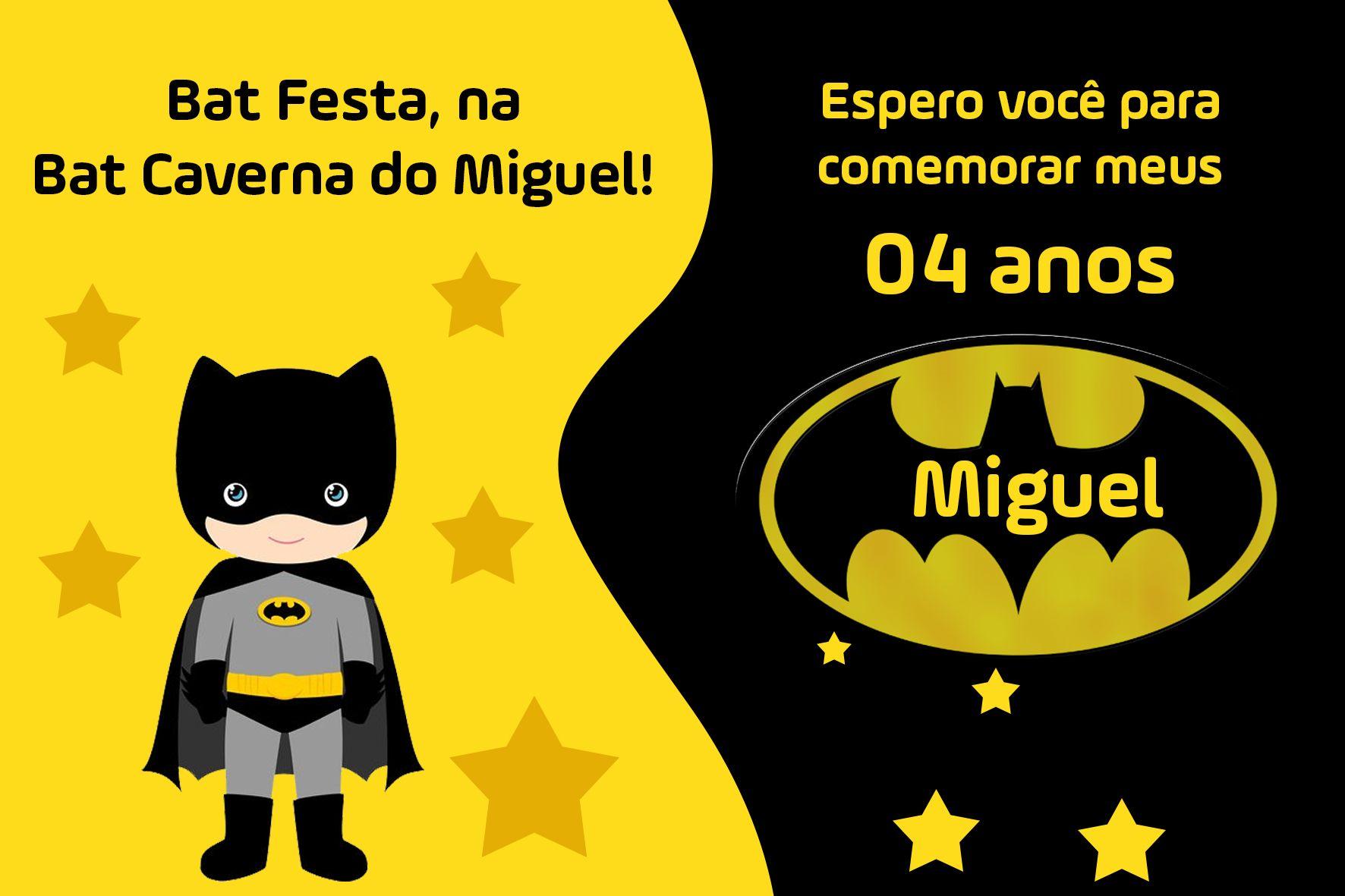 Convite De Aniversário Batman Personalizado Para Festa Infantil