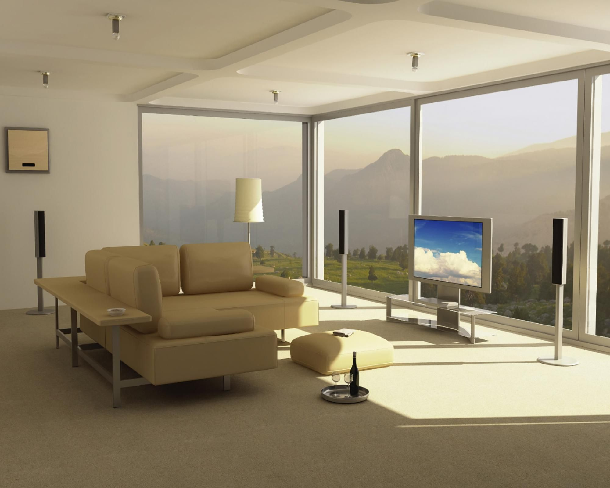 Best of 500 contemporary interiors - Awesome Modern Design In Living Room Beige Sectional Sofa Plus Benches Low Table Also Tv On