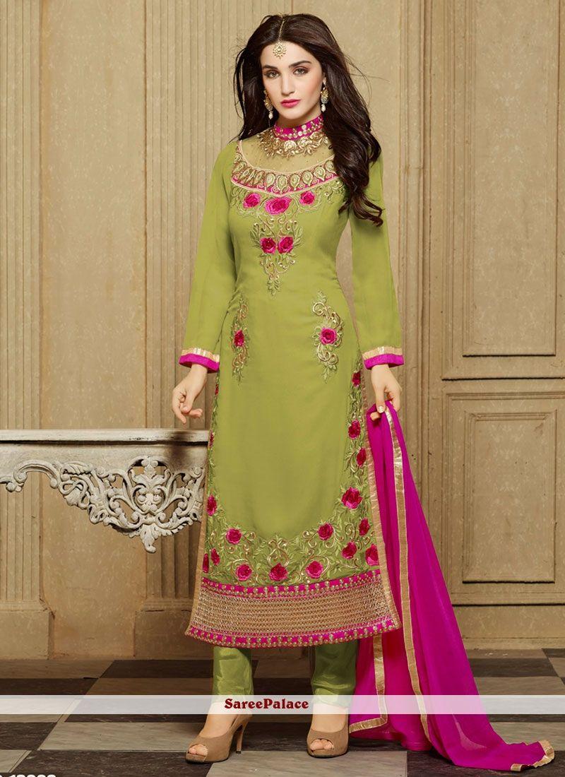 1a22d7e2c5 Auspicious Faux Georgette Patch Border Work Designer Straight Salwar Kameez