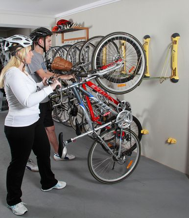 Compact Vertical Bike Rack Wall Mount Storeyourboard Com Sepeda Garasi Gantungan