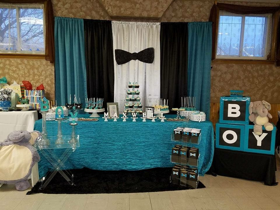 Bowtie Elephant Boy Babyshower. Black White Teal. Custom Bowtie