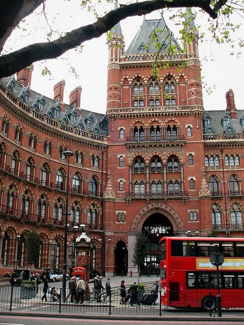"""St. Pancras  """"After you've had your fill of sugar quills, head outside and take a look at the exterior of St. Pancras International Station located next door, where the Weasley's parked their famous Ford Anglia."""""""