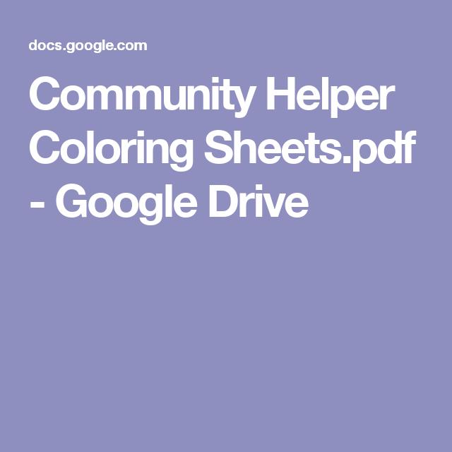 Community Helper Coloring Sheets Pdf Google Drive Childcare