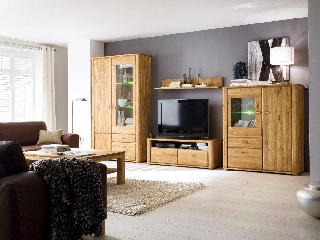Massive Wohnwand Mit Jeder Menge Stauraum Im Zeitlosen Design: Wohnwand  Wildeiche Massiv 101 00049