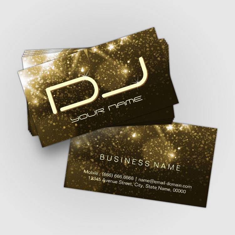 Glamour Gold Sparkles - Party DJ Business Cards | Custom Business ...
