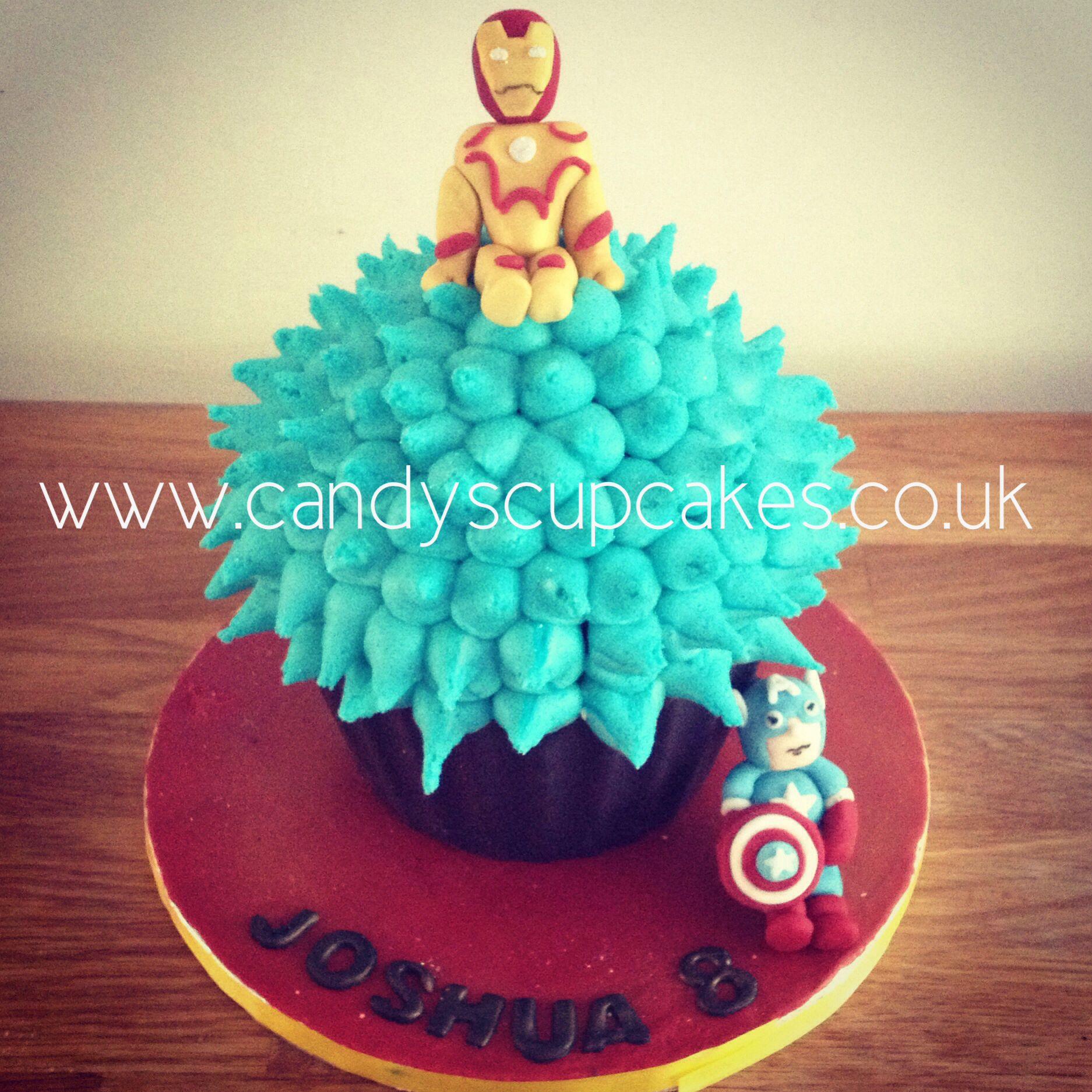 Iron man and captain America giant cupcake birthday cake birthday
