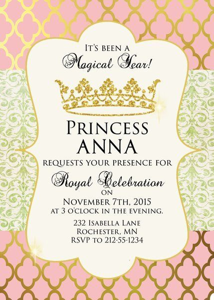 Pink And Gold Princess Birthday Party Invitation Sugar And Spice