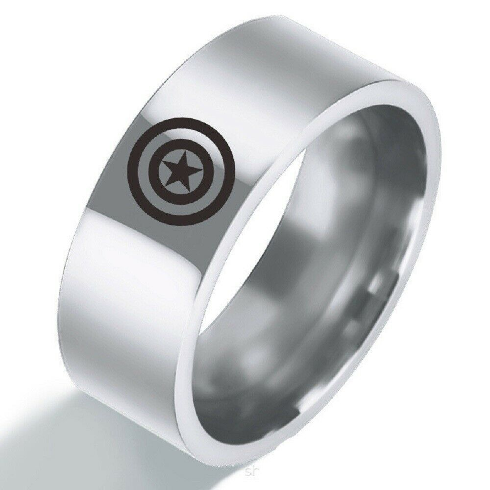 The Avengers Captain America Stainless Steel Band Silver Ring Cosplay Jewelry Captainamerica Captainameric Cosplay Jewelry Stainless Steel Band Silver Rings