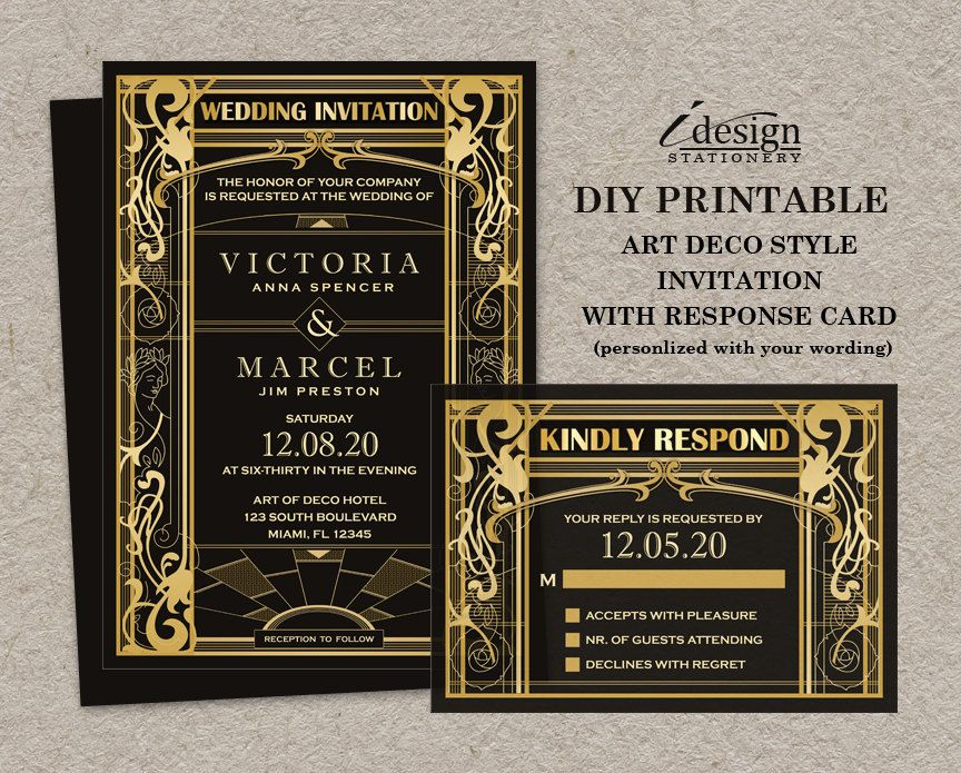 wedding card invite wordings%0A Vintage Art Deco Great Gatsby Themed Wedding Invitation With RSVP Card    DIY Printable Gold And