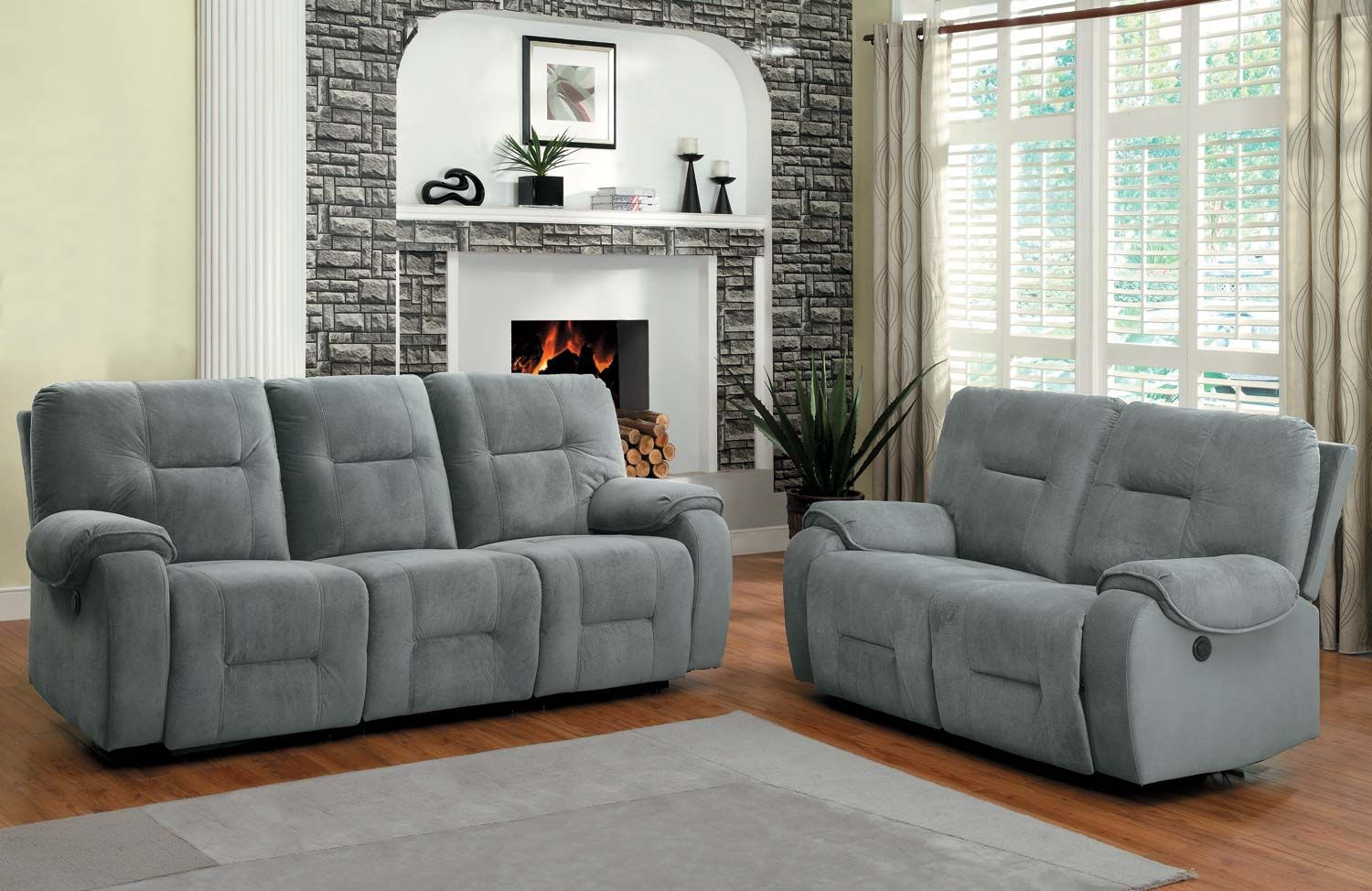 Homelegance Bensonhurst Reclining Sofa Set Blue Grey Textured Micro Fiber