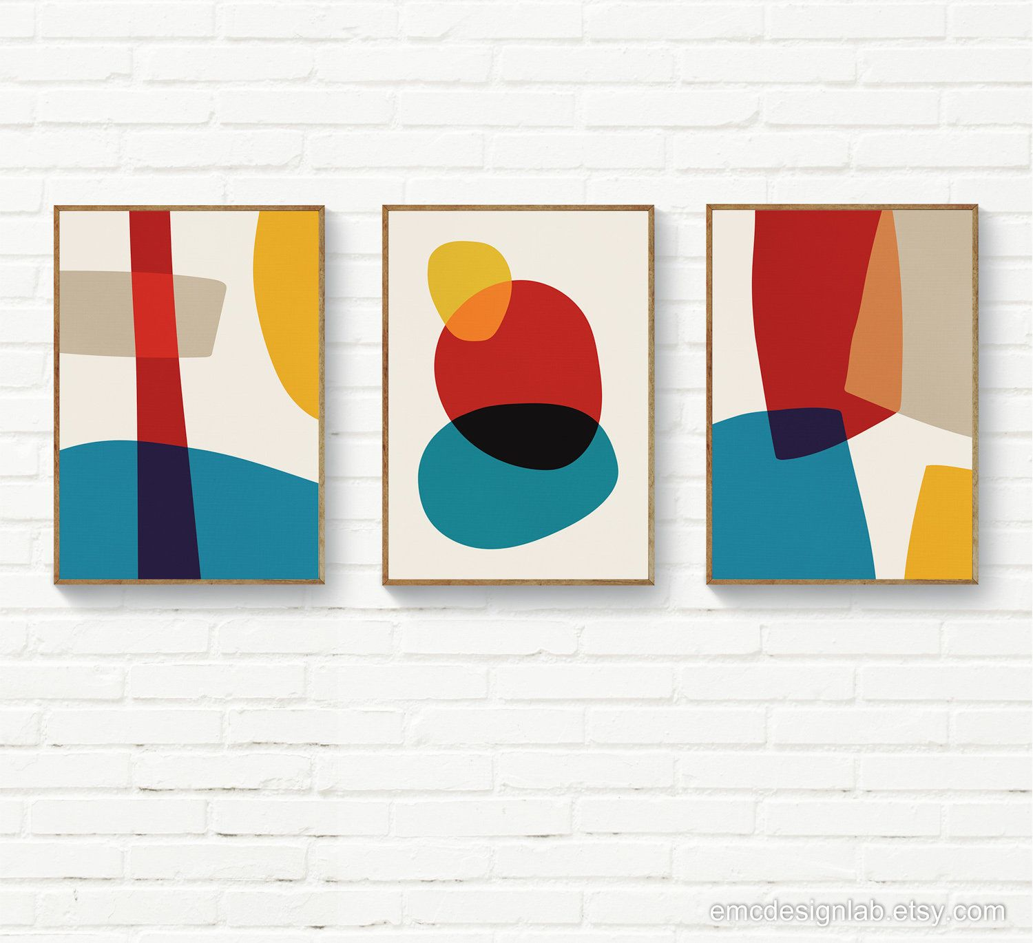 Original Wall Art Red Yellow Blue Beige Set Of 3 Prints Organic Shapes Instant Download Mid Century Contempo Original Wall Art Printable Art Trendy Wall Art