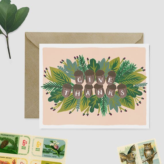 Give Thanks Card Set  Thanksgiving Card Set by WoodburyDesignCo