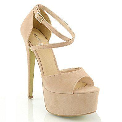 Essex Glam Damen Riemchen Plateau Sandalen Stiletto Absatz Offene Pumps Absätze Sneaker Offene Sandalen Schuhe Mit Absatz Schöne Schuhe Frauen In High Heels