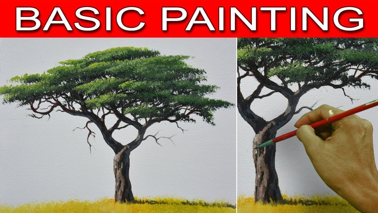 How To Paint An Acacia Tree In Step By Step Real Time Acrylic Painting T Painting Tutorial Simple Acrylic Paintings Basic Painting