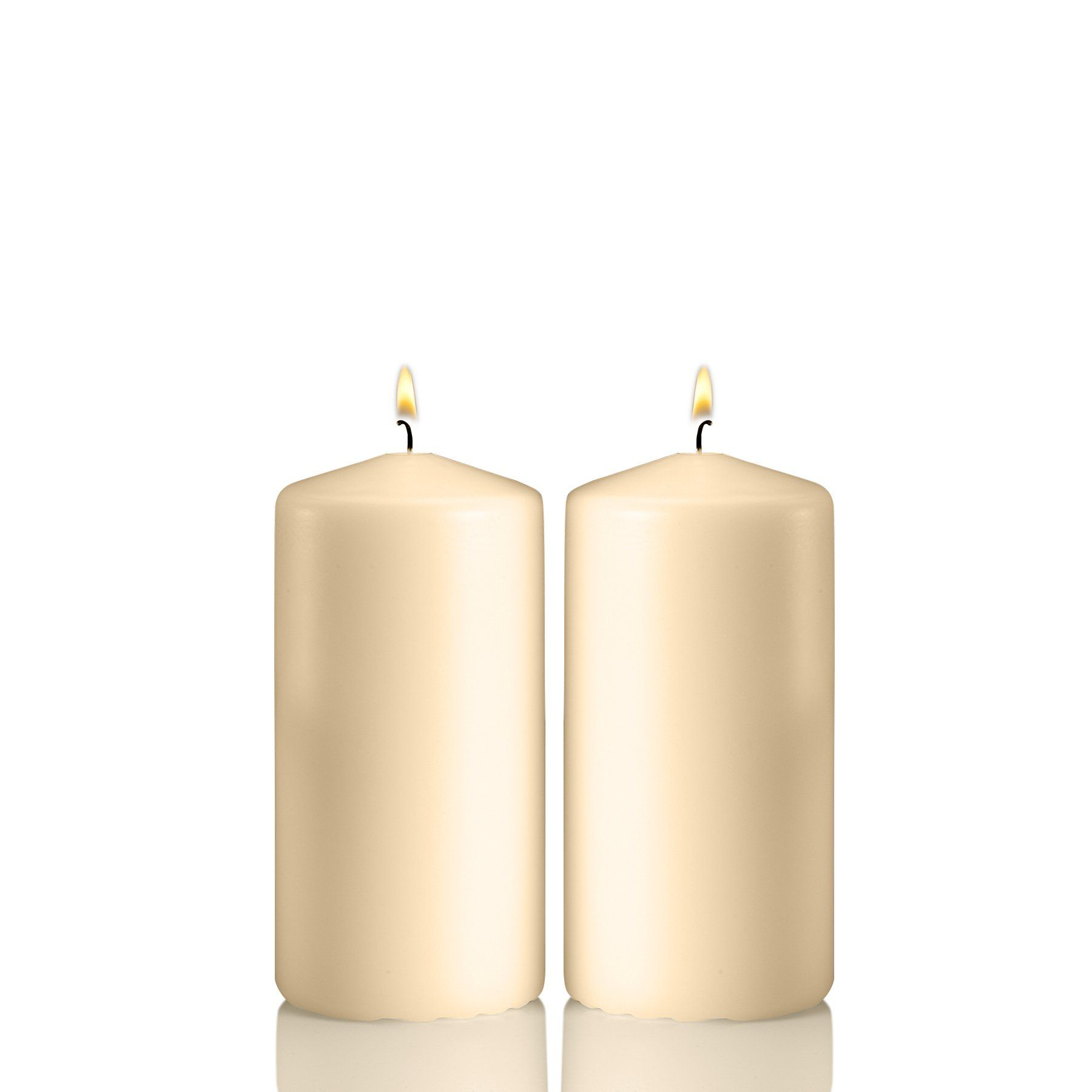 Set of 2 Unscented Candles 3 inch Thick Light In The Dark Ivory Pillar Candles 36 Hour Clean Burn Time 6 inch Tall