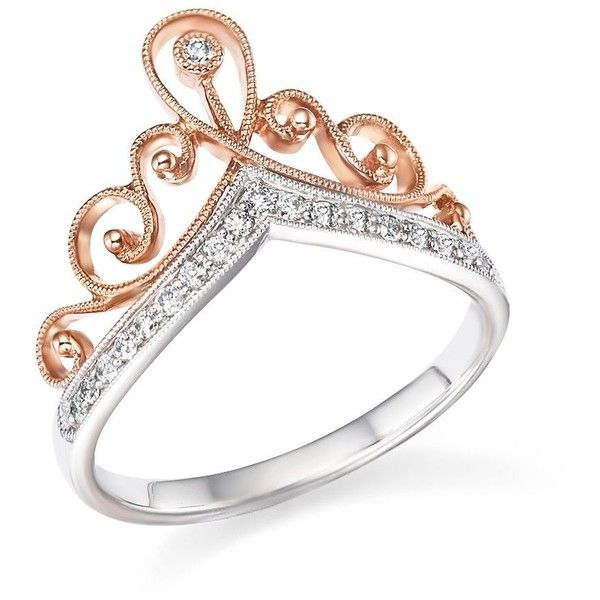 Diamond Crown Ring in 14K White and Rose Gold 15 ct tw 825