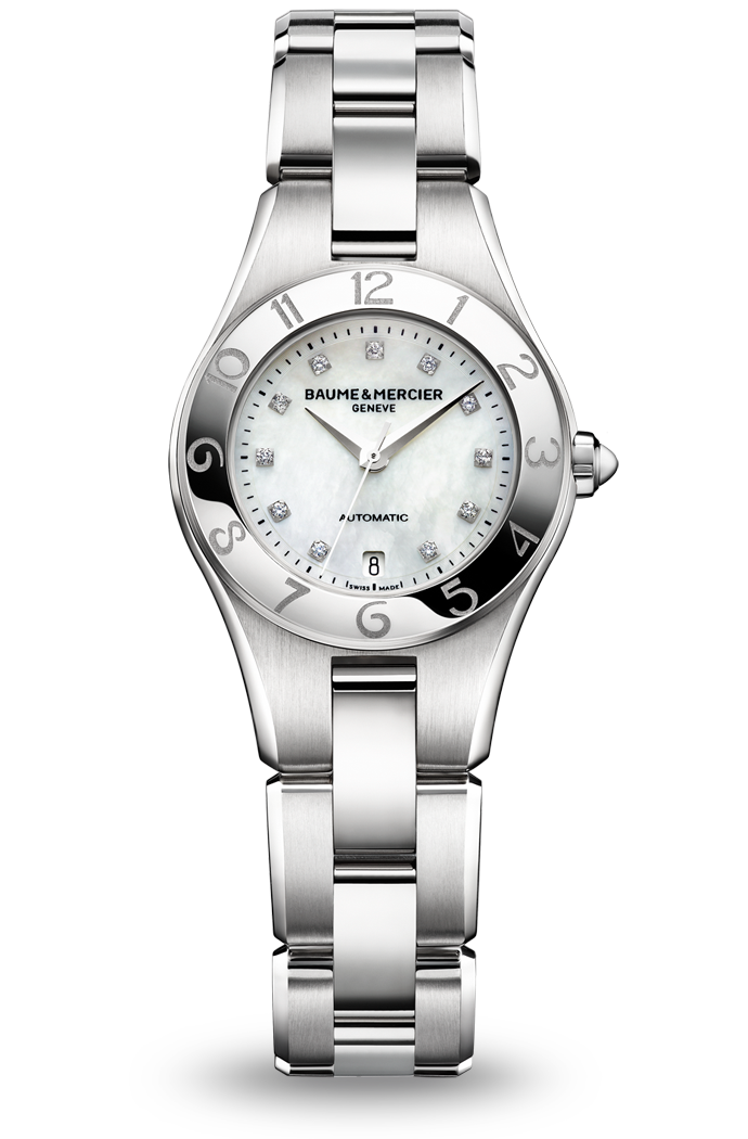 Discover the Linea 10013 Ladies automatic watch, with interchangeable straps, designed by Baume et Mercier, Swiss Watch Maker.