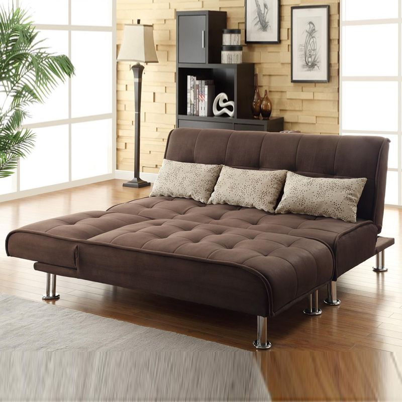 2 PC Modern Convertible Brown Sectional Set Sofa Futon Couch